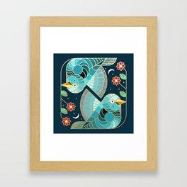 Beautiful Art Deco Midnight Bluebirds And Blossoms Framed Art Print