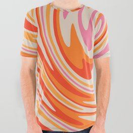 70s Retro Swirl Color Abstract All Over Graphic Tee