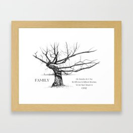 Gnarled Tree in Pencil with Quote About FAMILY Unity and Roots Framed Art Print