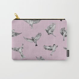 Birds in Flight in Pink and Grey Carry-All Pouch