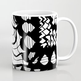 Free Hand Black and White Mix of Patterns Drawing Coffee Mug