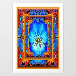 Orange Southwest Blue pansy Patterned Art Design Art Print