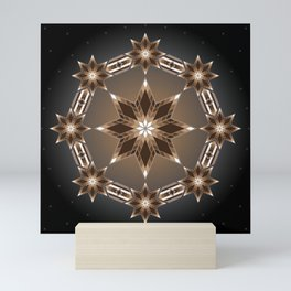 Morning Star Circle (Brown) Mini Art Print