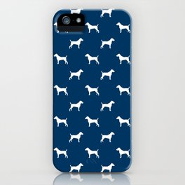 Jack Russell Terrier navy and white minimal dog pattern dog silhouette pattern iPhone Case
