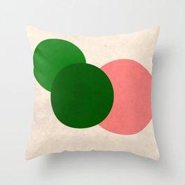 Living Coral Green Vintage Mod Circles Throw Pillow