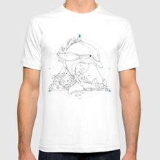 Dolphin White SMALL Mens Fitted Tee