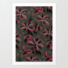 Snake Palms - Dark Vintage Coral Art Print