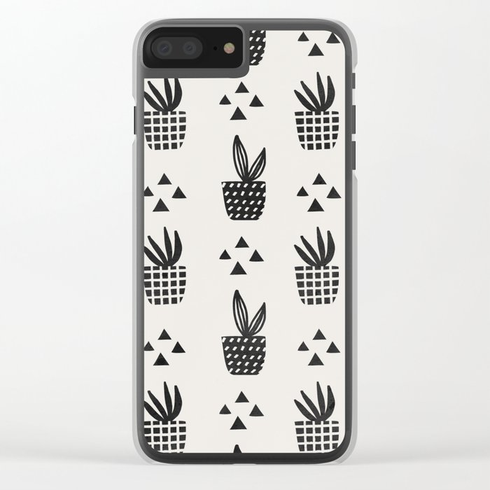 Trendy Stamped Potted Plants Clear iPhone Case