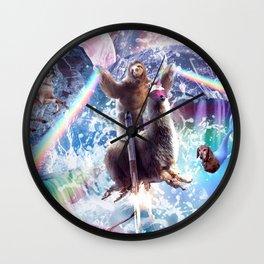 Rainbow Laser Sloth On Llama Unicorn In Space Wall Clock