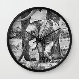 AnimalArtBW_Elephant_20170908_by_JAMColorsSpecial Wall Clock