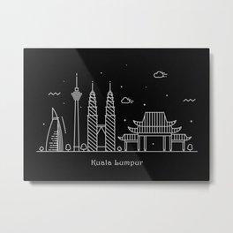 Kuala Lumpur Minimal Nightscape / Skyline Drawing Metal Print