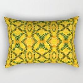 Nature Inspired Greenery - Leaves on Bright Yellow Rectangular Pillow