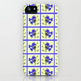 California Bluebell Faux Quilt iPhone Case
