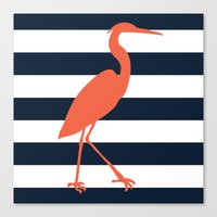 crane Canvas Prints featuring Crane by Gathered Nest Designs