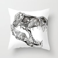 t rex Throw Pillows featuring T Rex by Cherry Virginia