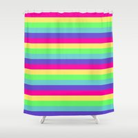 stripes Shower Curtains featuring Rainbow Stripes by WhimsyRomance&Fun
