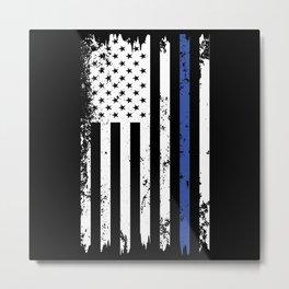 USA Flag - Thin blue line Metal Print