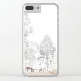 Zebras - through the mist Clear iPhone Case