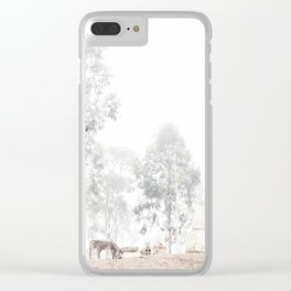 Zebras - through the mist Clear iPhone Case