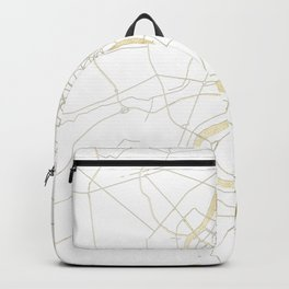 Bangkok Thailand Minimal Street Map - Gold Metallic and White II Backpack