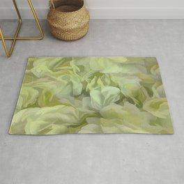 Soft Green Petal Ruffles Abstract Rug
