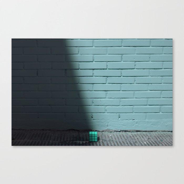 Blue and shady cube Canvas Print
