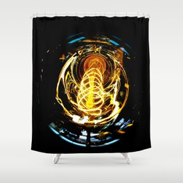 Industrial Filament Light Shower Curtain