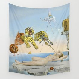 Salvador dali Dream caused by the flight of a bee around a pomegranate one second before waking up Wall Tapestry