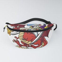 Shark Pirate Captain Riding Dragon Fantasy Mythical Creature T-Shirt Fanny Pack