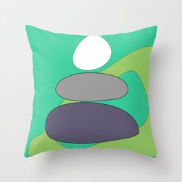 Abstract digital Zen balance art. Stack of stones on a green background Throw Pillow