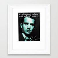 kerouac Framed Art Prints featuring Jack Kerouac by Guido prussia