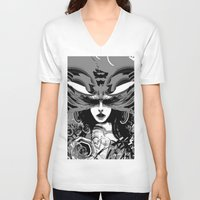 moth V-neck T-shirts featuring Moth by WES EXOTIC IMAGERY