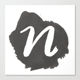 """N"" Monogram, Watercolor Design Canvas Print"