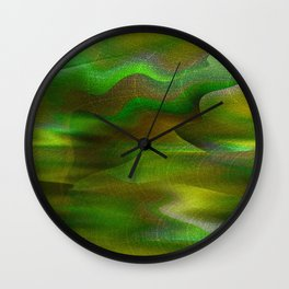 Waves of Abstraction (olive-apple-avocado green) Wall Clock