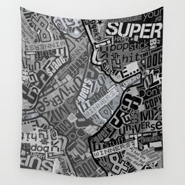 Black and White Typography Collage Wall Tapestry