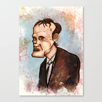 quentin tarantino Canvas Prints featuring Quentin Tarantino by Grant Hunter