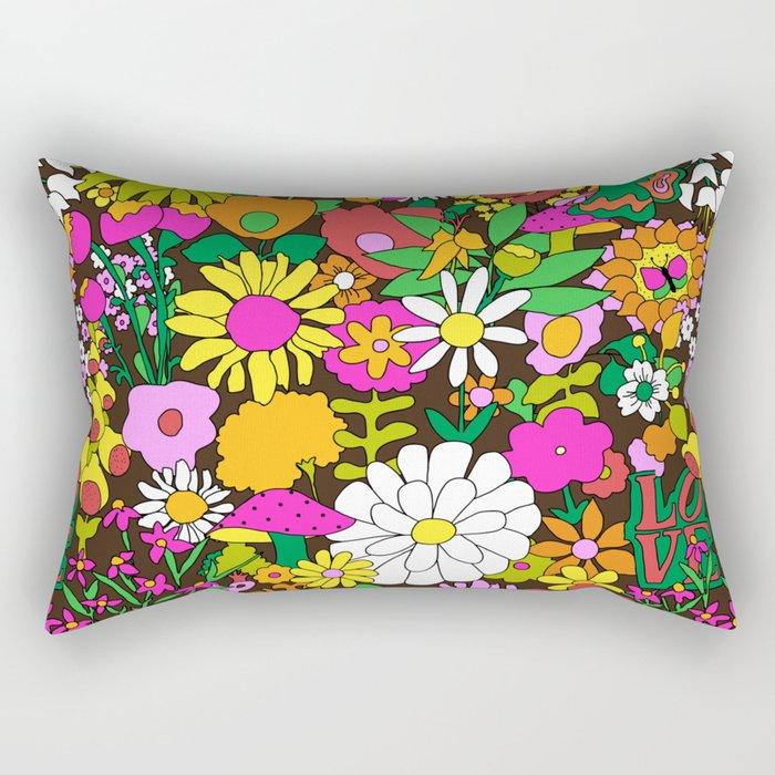 60's Groovy Garden in Chocolate Brown Rectangular Pillow