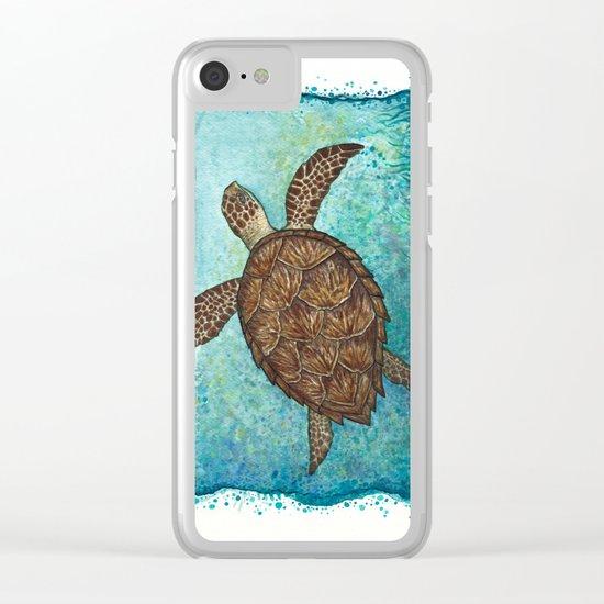 Hawksbill Sea Turtle ~ Watercolor Clear iPhone Case