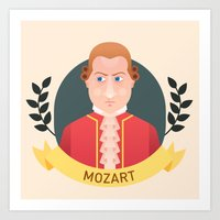 mozart Art Prints featuring Mozart by Espaco Ilusório