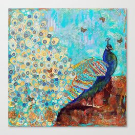 Peacock Paparazzi, peacock mixed media collage painting Canvas Print