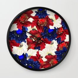 Red White Blue Floral Gems Wall Clock