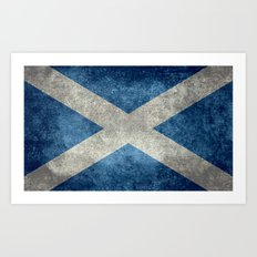 Flag of Scotland, Vintage Retro Style Art Print