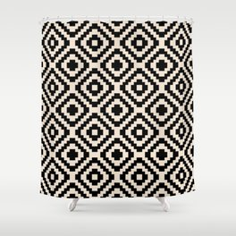 Black and Cream Square Diamonds Shower Curtain