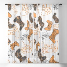 Video Games Orange on White Sheer Curtain