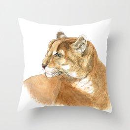 Sunbathing American Mountain Lion Throw Pillow