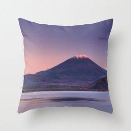 II - Last light on Mount Fuji and Lake Motosu, Japan Throw Pillow