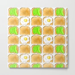Toast pattern // Avocado toast // Egg toast // Breakfast pattern  Metal Print