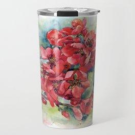 Watercolor Apple quince bloom Travel Mug