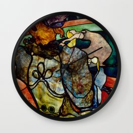 """Henri de Toulouse-Lautrec """"Papa Chrysanthème at the New Circus"""" stained glass Wall Clock"""