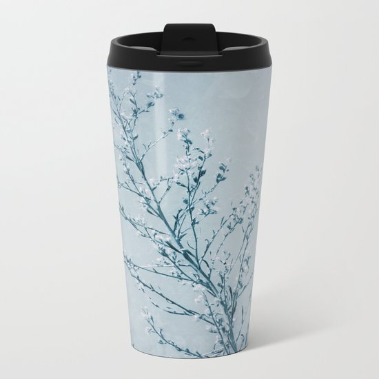 Seeds of Weeds in Vintage Blue Metal Travel Mug